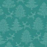 Волшебная пуща рождественских елок мозаики с северным оленем Стоковые Изображения