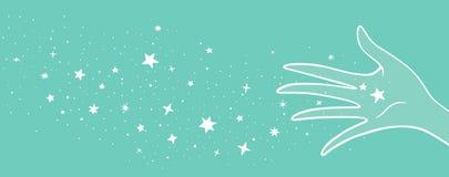 Волшебная рука с звездами иллюстрация штока
