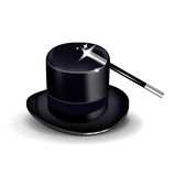 Волшебная шляпа и палочка изолированные на белизне Иллюстрация штока