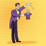 Волшебник вытягивая вне кролика иллюстрация вектора