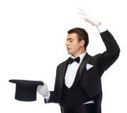Волшебник в фокусе показа верхней шляпы Стоковые Фото