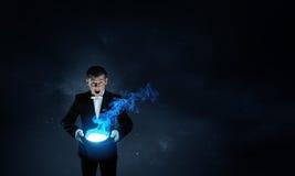 Волшебник человека с шляпой цилиндра Стоковые Фото