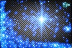 Волшебно летать звезда рождества реалистический световой эффект поток звезд света, элементов вектора Прозрачное templa Стоковые Фото