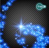Волшебно летать звезда рождества реалистический свет Изолированный поток света звезд Прозрачный шаблон  Стоковое фото RF