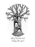 Волшебные дерево, животные и подарки иллюстрация вектора