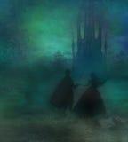 Волшебные замок и принцесса с принцем Стоковые Изображения