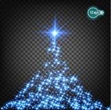 Волшебные световые эффекты для того чтобы украсить искры рождественской елки света Прозрачная картина накаляя рождества гераниума Стоковое Изображение