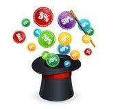 Волшебные ярлыки вектора и продажи шляпы иллюстрация штока