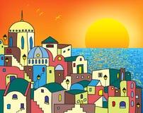 Волшебный городок на восходе солнца иллюстрация вектора