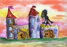 Волшебный замок иллюстрация штока