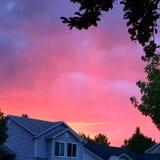 Волшебный заход солнца весны Стоковая Фотография