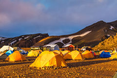 Волшебный рассвет Landmannalaugar, Исландия Стоковые Изображения
