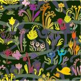 Волшебный сад - безшовная картина Стоковые Фотографии RF