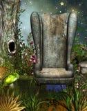 Волшебный сад с стулом иллюстрация вектора
