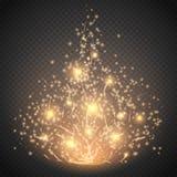 Волшебный световой эффект Свет, пирофакел, звезда и взрыв специального эффекта зарева изолировали искру иллюстрация штока