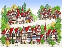 Волшебный средневековый городок иллюстрация вектора