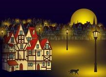 Волшебный средневековый городок иллюстрация штока