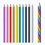 Волшебным установленные карандаши покрашенные карандашем иллюстрация вектора