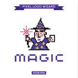 Волшебство волшебника волшебника искусства пиксела логотипа, вектор Стоковое Фото