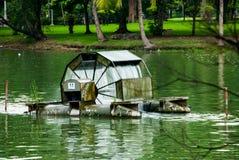 Водяная мельница в середине пруда, парка Lumpini, Бангкока Стоковое Изображение RF