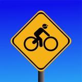 вперед велосипедисты подписывают предупреждение Стоковое Изображение