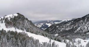 Вперед воздушный к снежным лесу и холмам древесин Погода пасмурного плохого overcast туманная Горы Альпов итальянки доломитов зим акции видеоматериалы