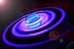 Впечатляющая планета со спиральными кольцами иллюстрация штока