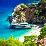 Впечатляющий пляж Apella, остров Karphatos, Греция Стоковое фото RF