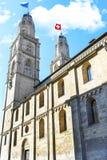 Впечатляющий собор Grossmunster Стоковое Изображение