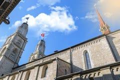 Впечатляющий собор Grossmunster Стоковые Изображения