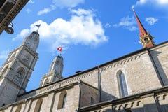 Впечатляющий собор Grossmunster Стоковое Фото
