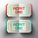Впустите билеты одного вектора отрезка бумаги Стоковое Изображение RF