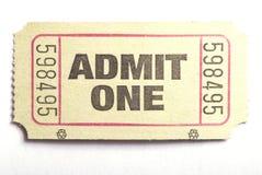 впустите один билет Стоковая Фотография