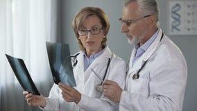 Врачи сравнивая рентгеновские снимки соединений, профессиональный совет, диагноз видеоматериал