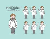 Врачуйте вектор иллюстрации женщины характера на зеленой предпосылке Стоковая Фотография RF