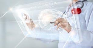 Врачуйте проверять результат испытания мозга с интерфейсом компьютера Стоковое Изображение