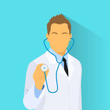 Врач с мужчиной значка профиля стетоскопа Стоковое Изображение RF