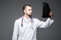 Врач с портретом рентгеновского снимка против серой предпосылки стоковая фотография