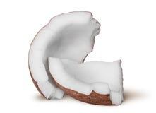 2 вращанной части пульпы кокоса Стоковые Изображения