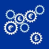 Вращать зацепляет с символами евро внутренними и фунт на расстоянии бесплатная иллюстрация