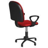 Вращающееся кресло офиса на постаменте, с колесами, с красным драпированием и черными пластичными подлокотниками, полу-повернутое Стоковые Фото