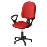 Вращающееся кресло офиса на рицинусах, с красными местом и backrest и черными пластичными ручками, vector иллюстрация Стоковые Изображения