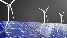 Вращая ветрянки и панели солнечных батарей, 3d перевод, компьютер производя для дизайна экологичности иллюстрация вектора