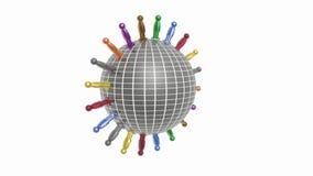 Вращая глобус и люди видеоматериал