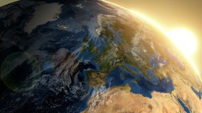 Вращая земля с восходом солнца - Европа иллюстрация вектора