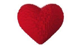 Вращая малиновое сердце 3d сформировало красных кубов Безшовная петля бесплатная иллюстрация