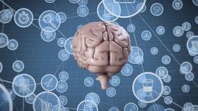 Вращая мозг со значками иллюстрация вектора