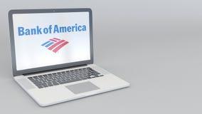 Вращая отверстие и заключительная компьтер-книжка с логотипом Государственного банка Америки Зажим передовицы 4K компьютерной тех иллюстрация штока