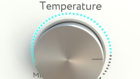 Вращая ручка с надписью температуры схематический перевод 3d Стоковое Изображение