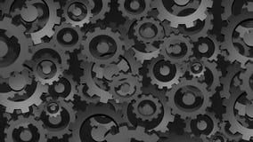 Вращая шестерни, темная абстрактная промышленная предпосылка иллюстрация штока
